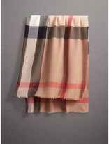 Burberry Large Lightweight Check Silk Modal Wool Square Scarf, Brown