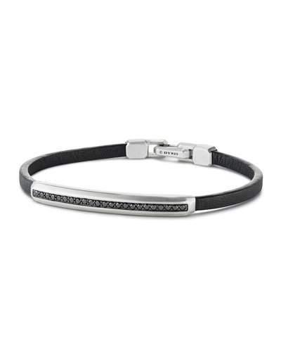 David Yurman Men's Pavé Leather ID Bracelet with Black Diamonds