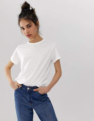 Asos Design DESIGN t-shirt with roll sleeve in linen mix in white