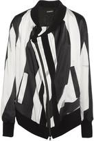 Ann Demeulemeester Cutout Striped Silk-blend Satin Bomber Jacket - Black