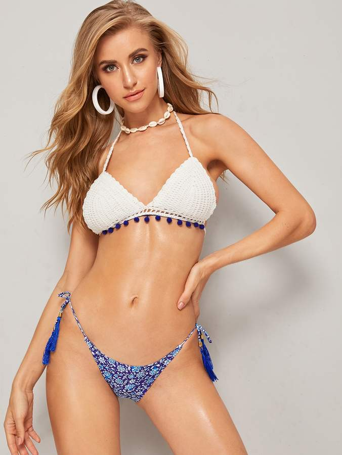 Crochet Halter Bikini Top Shopstyle