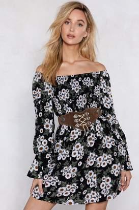 Nasty Gal Womens In My Darkest Flower Off-The-Shoulder Dress - Black - 6, Black