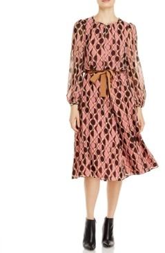 Marella Circle-Print Tie-Waist Dress