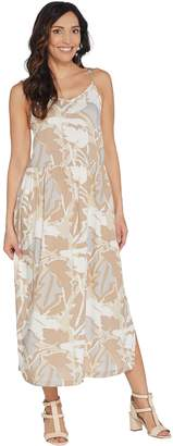 Logo By Lori Goldstein LOGO by Lori Goldstein Challis Printed Camisole Dress w/ Side Slits