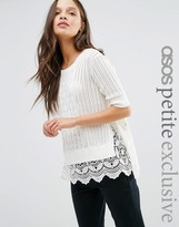 Asos Sweater in Pointelle with Crochet Trim