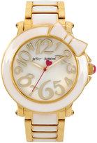Betsey Johnson Women's Gold-Tone & White Bracelet Watch 41mm BJ00459-10