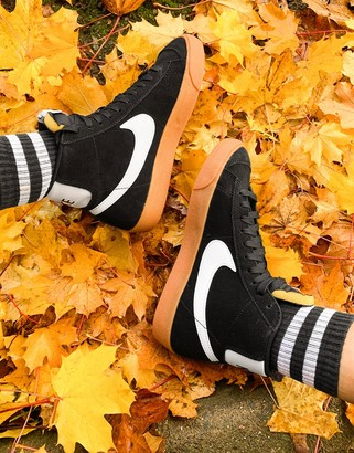 Nike Blazer Mid 77 suede trainers in black and white