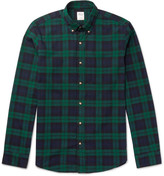J.crew - Slim-fit Button-down Collar Black Watch Checked Cotton Shirt