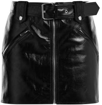 Valentino Belted Leather Mini Skirt - Womens - Black