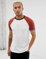 Asos Design DESIGN organic relaxed raglan t-shirt with contrast tipping in white