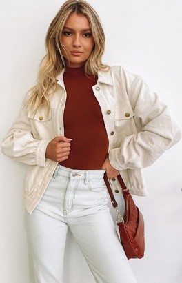Beginning Boutique Jacey Cord Jacket White
