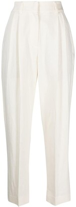 Brunello Cucinelli High-Rise Box-Pleated Cropped Trousers