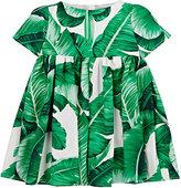 Dolce & Gabbana Banana-Leaf-Print Poplin Dress & Bloomers-GREEN