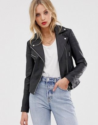 Barneys New York Clara real leather biker jacket