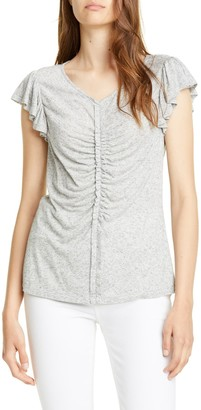 Rebecca Taylor Ruched Seam Flutter Sleeve Top