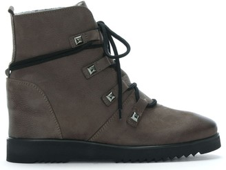 Daniel Marple Grey Suede Shearling Lined Wedge Ankle Boots