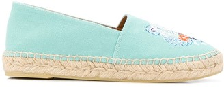 Kenzo Tiger-Embroidered Canvas Espadrilles
