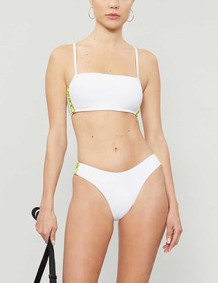 Roxy Sister Collection Hailey Bieber x Kelia Moniz Sporty neon logo-trimmed bandeau bikini top