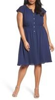 Sejour Plus Size Women's Crepe Georgette Cinched Waist Shirtdress