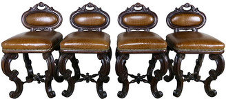 One Kings Lane Vintage Embossed Leather Stools - Set of 4 - brown