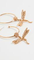 Oscar de la Renta Pave Dragonfly Hoop Earrings