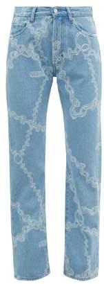 Aries Lilly Chain-print Straight-leg Jeans - Womens - Denim