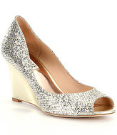 Badgley Mischka Awake Peep Toe Glitter Wedge Pumps