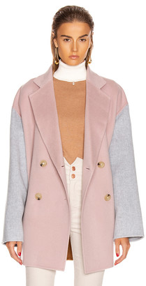 Acne Studios Odine Double Coat in Powder Pink Melange | FWRD