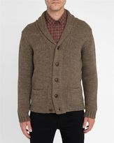 M.STUDIO INACTIVE Mink-Coloured Antonin Shawl Collar Wool Blend Cardigan