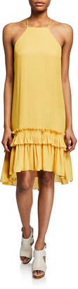 Halston Sleeveless Halter Dress with Pleated Ruffle High-Low Hem