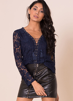Missy Empire Sascha Navy Lace Lace Up Top