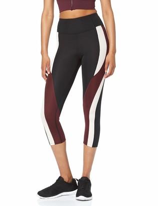 Aurique Amazon Brand Women's Colour Block Cropped Sports Leggings