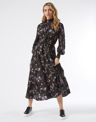 Miss Selfridge long sleeve shirred neck midi dress in black