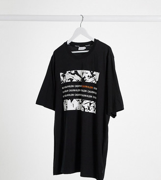 Calvin Klein Big & Tall graphic box t-shirt in black