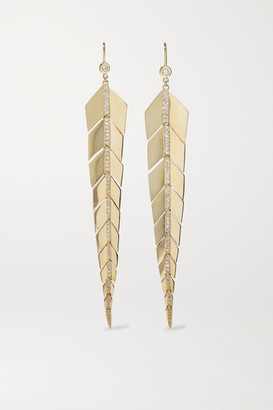 Jacquie Aiche Medium Fishtail 14-karat Gold Diamond Earrings - one size