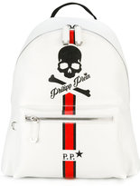 Philipp Plein skull and stripe backpack - men - Calf Leather - One Size