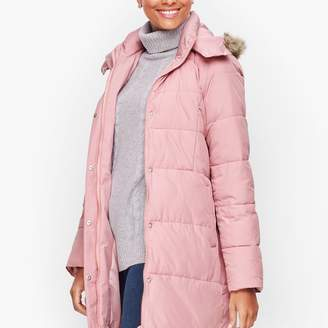 Talbots Down Alternative Puffer Coat With Faux Fur Hood