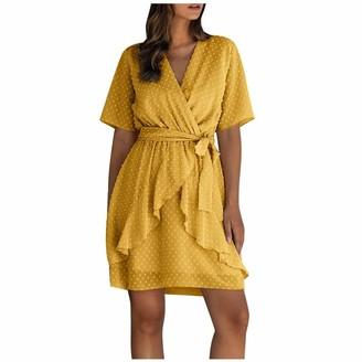 Marxways Fashion Dress Knee-Length Flounced Loose Long T-Shirt Plain Short Sleeve V-Neck Waistband Tops Skirt - Brown - M