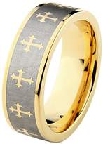 GoldenMine 8mm Celtic design Cross Tungsten Carbide Gold Plated Comfort-Fit Wedding Band Ring (Size 5 to 15) - Size 6.5