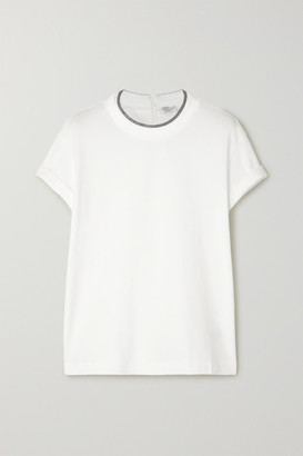 Brunello Cucinelli Bead-embellished Stretch-cotton Jersey T-shirt - Ivory