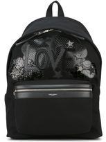 Saint Laurent Love patch City backpack - men - Cotton/Calf Leather - One Size