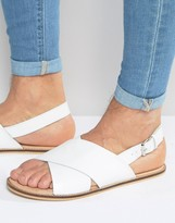 Asos Sandals in White Leather With Cross Over Strap