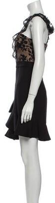 Three floor Square Neckline Mini Dress w/ Tags Black