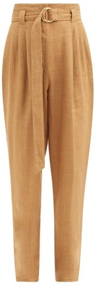 Another Tomorrow - Paperbag-waist Pleated Linen-blend Trousers - Brown
