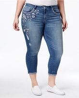 Jessica Simpson Trendy Plus Size Moss Wash Embroidered Skinny Jeans