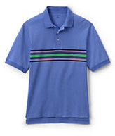 Classic Men's Big Short Sleeve Chest Stripe Interlock Polo Shirt-True Blue Multi Stripe