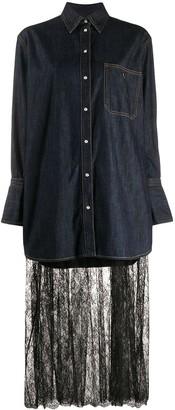 Valentino lace panel shirt dress