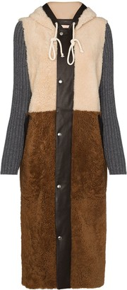 Plan C Panelled Shearling Coat