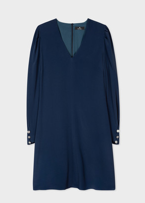 Paul Smith Women's Navy Silk-Blend V-Neck Dress With Puff Sleeves