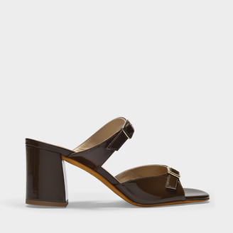 Maryam Nassir Zadeh Una Sandals In Brown Patent Leather